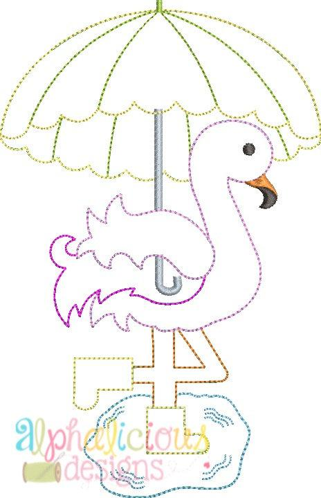 Rainy Day Flamingo Applique- Triple Bean