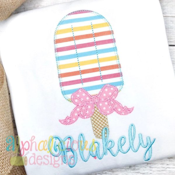 Popsicle with Bow Applique - Blanket
