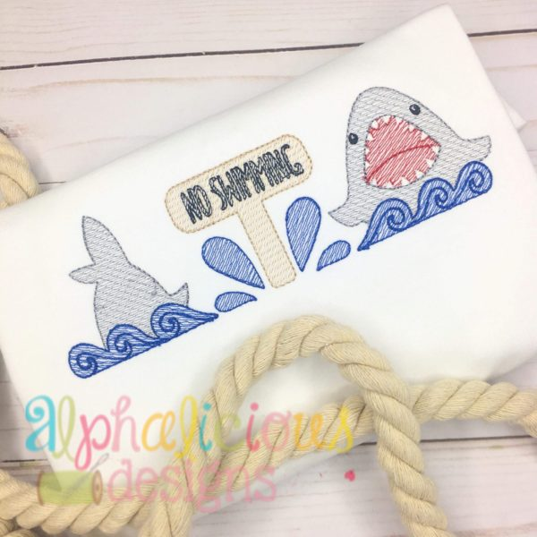 No Swimming Shark Sketch Embroidery Three In A Row