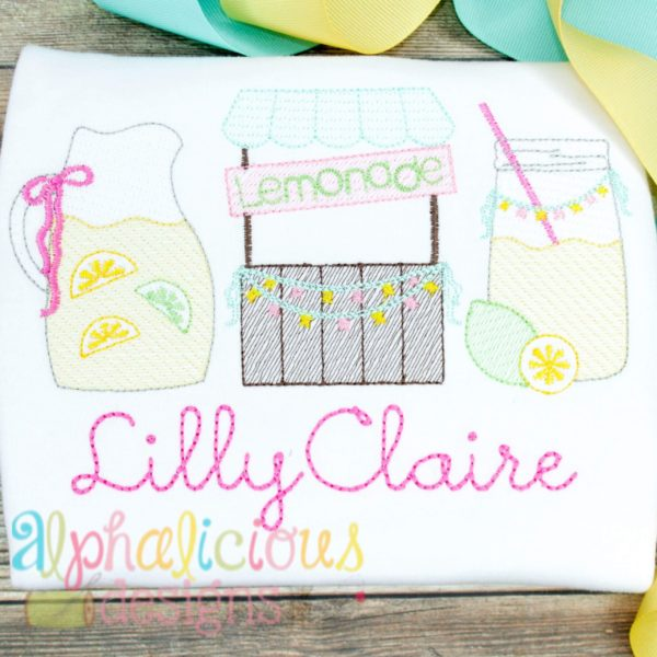 Sweet Summer Time Lemonade Sketch Embroidery-Three In A Row