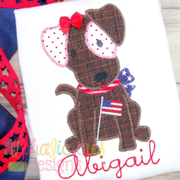 Patriotic Pup with Bow-Blanket