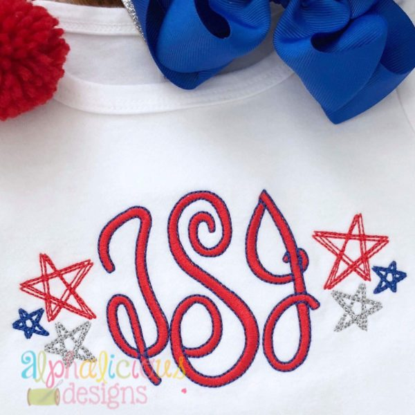 Scribble Stars Monogram Frame-Scribble Embroidery