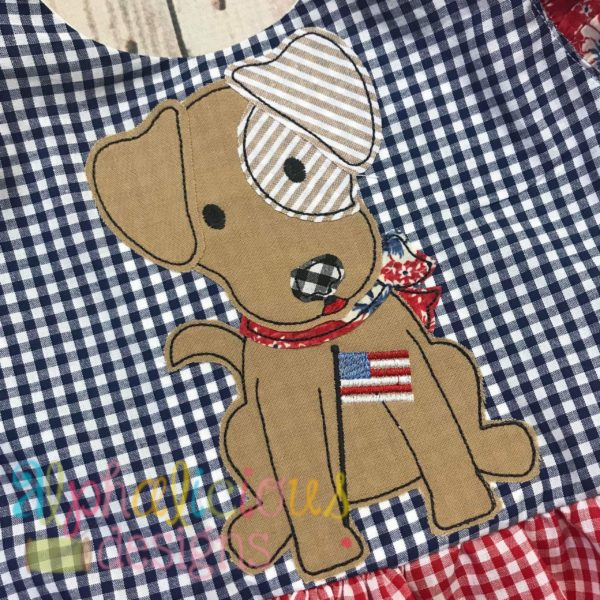 Patriotic Pup With Bow-Triple Bean