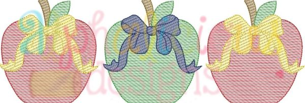 Apple With Bow Three In A Row-Sketch