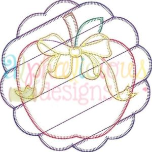 Patchwork Scallop Frame with Apple with Bow-Triple Bean