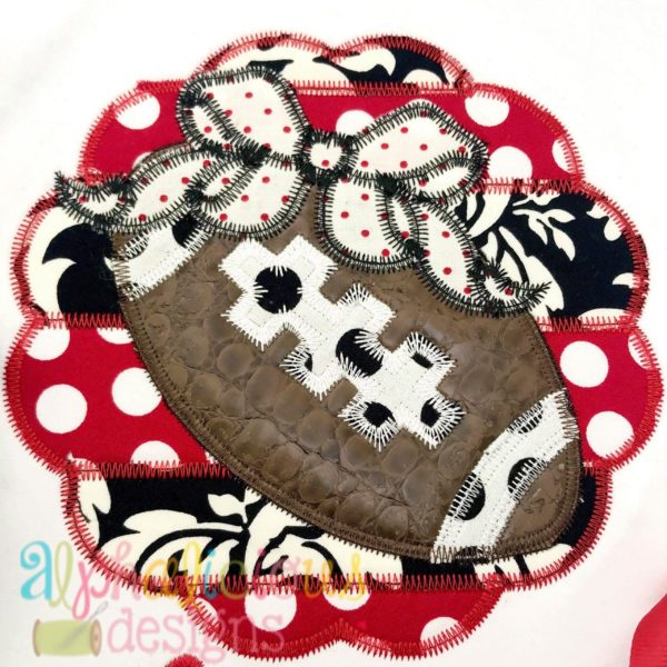 Patchwork Scallop Frame with Football with Bow-ZigZag