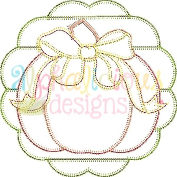 Patchwork Scallop Pumpkin with Bow-Blanket