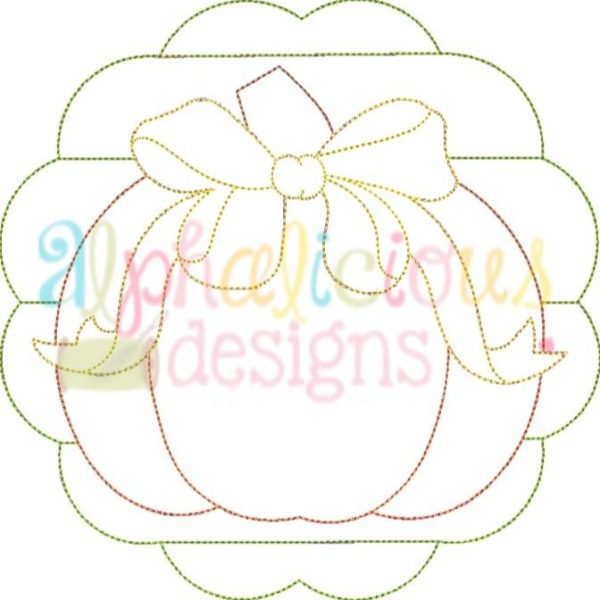 Patchwork Scallop Pumpkin With Bow-Triple Bean