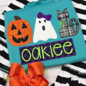Cute & Spooky Three In A Row-Applique