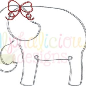 Elephant with Bow- Scribble