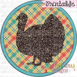 Farm Turkey in Circle Frame-Printable
