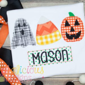 Trick Or Treat Three In A Row-Applique
