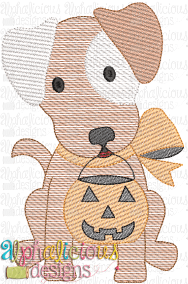 Trick OR Treat Pup with Bow- Sketch