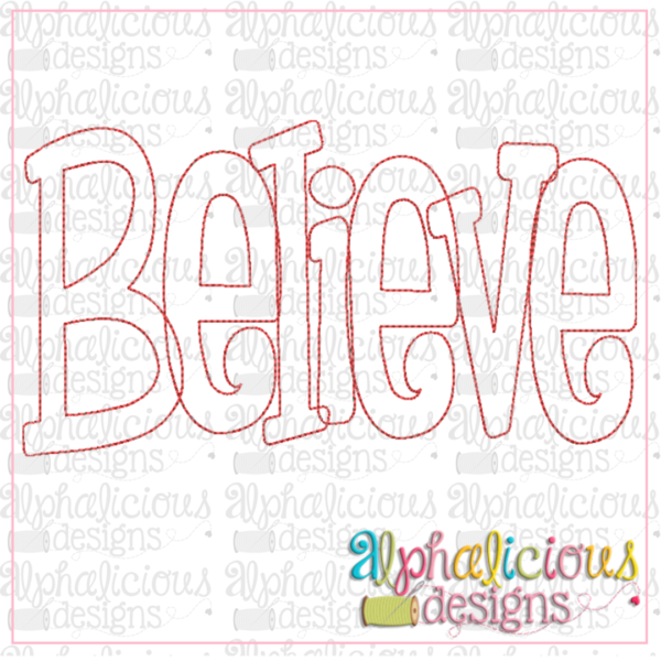 Believe Applique Word-Triple Bean