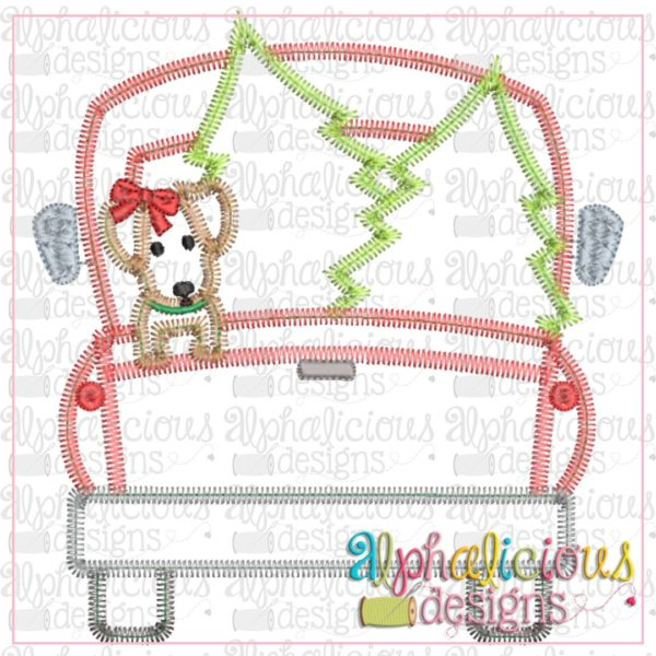 Christmas Dog Truck-Girl-ZigZag