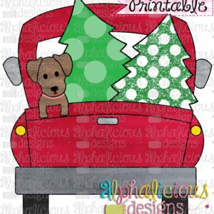 Christmas Truck-Dog and Trees-Printable