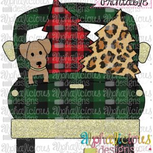Christmas Truck-Dog and Trees-Buffalo-Printable