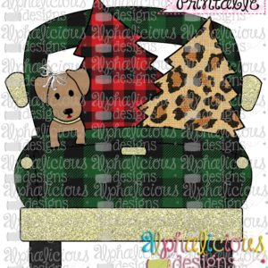 Christmas Truck-Dog and Trees-Buffalo Plaid with BOW-Printable
