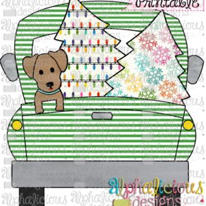 Christmas Truck-Dog and Trees-Green Stripe-Printable