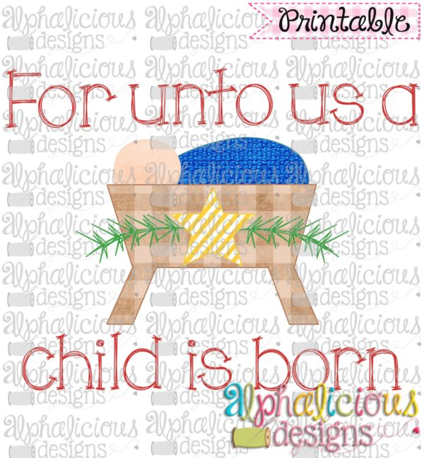 For Unto Us-Star-Blue Knit-Printable