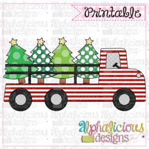 Red Striped Holiday Truck
