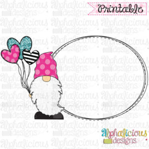 Gnome with Balloon Frame- Pink, Black, Turq