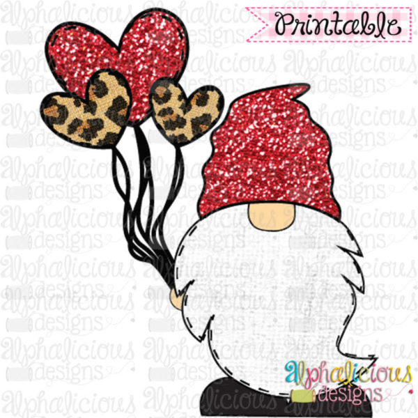 Gnome with Balloons-Red and Leopard