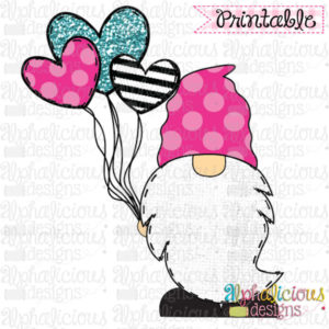 Gnome with Balloons- Pink, Black, Turq