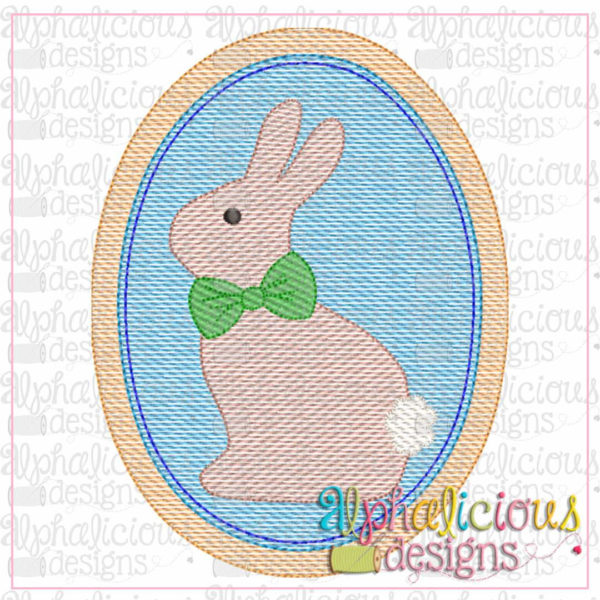 Classic Bunny In Oval Frame-Sketch
