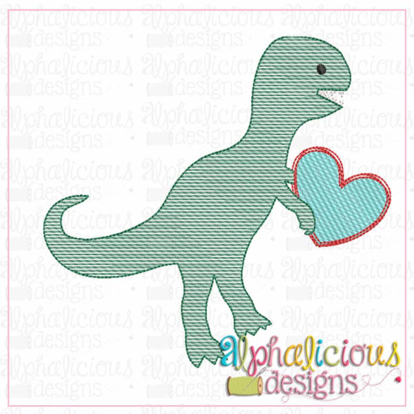 Dino with Heart Sketch