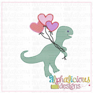 Valentine Dino with Balloons-Sketch