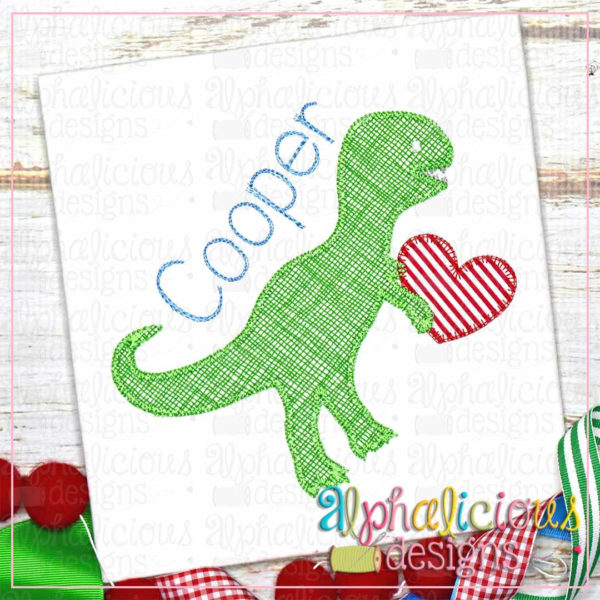 Valentine Dino with Heart-Blanket