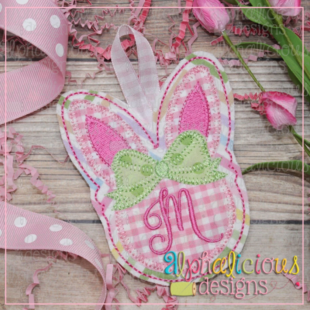 Simple Bunny with Bow Ornament