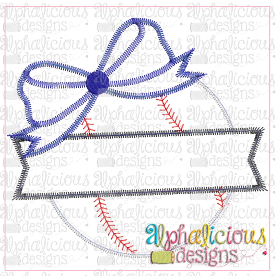 Baseball and Banner with Bow-ZigZag