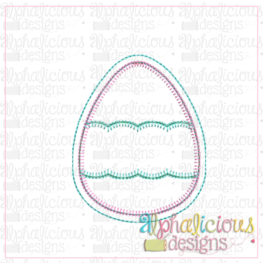 Egg With Scallop Banner Ornament