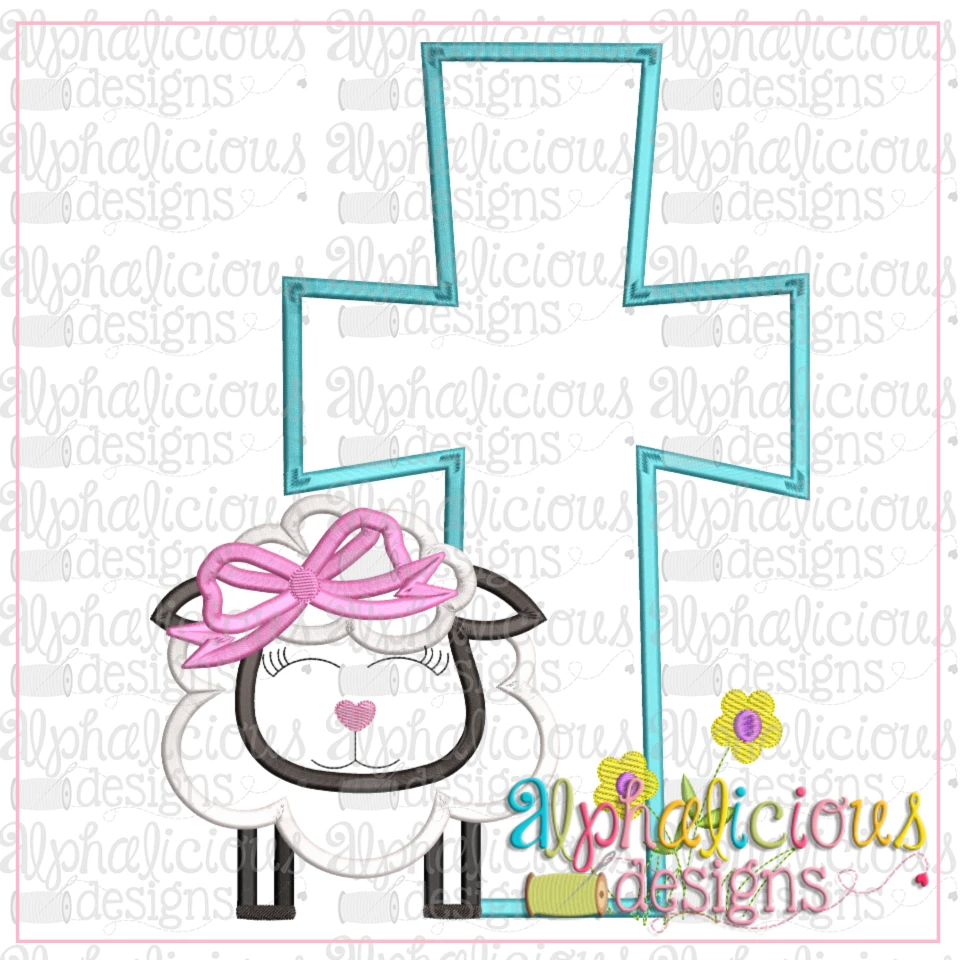 Sheep With Bow And Cross-Satin