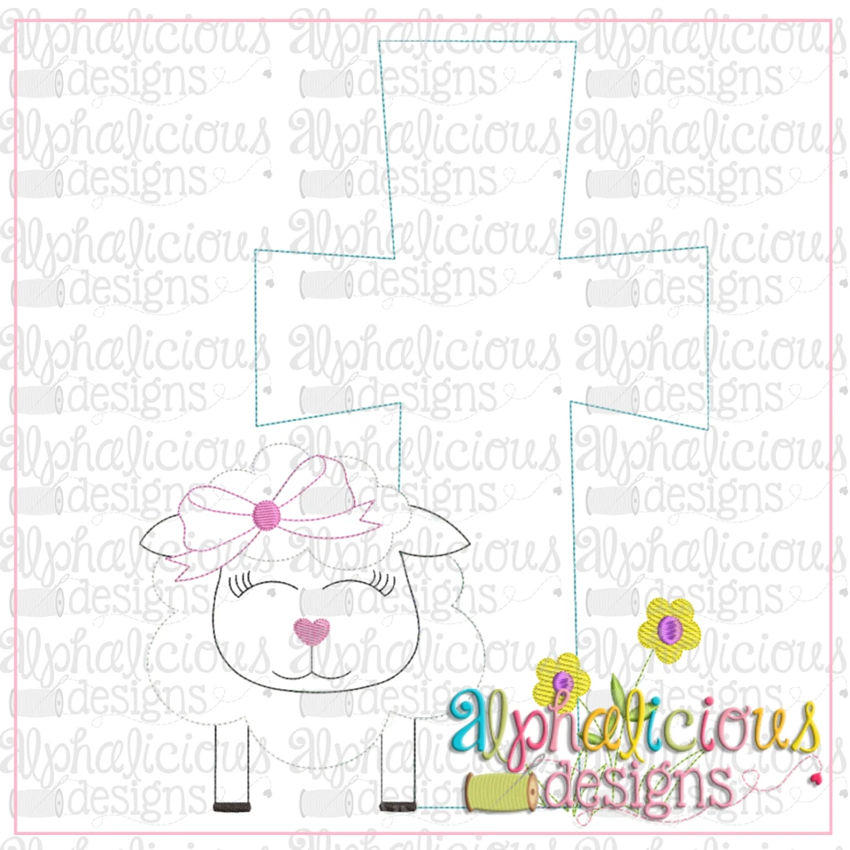Sheep with Bow and Cross-Triple Bean