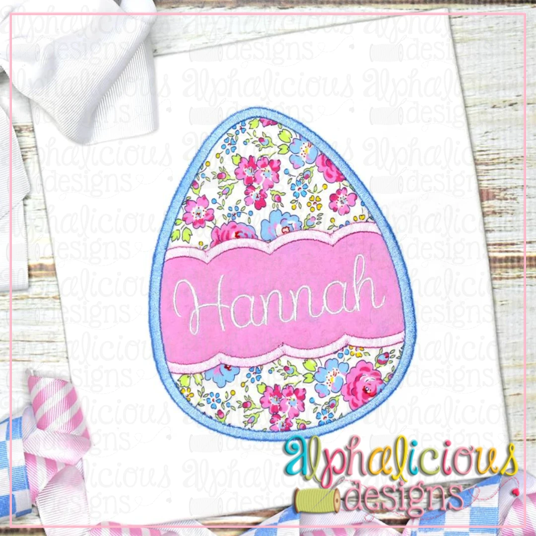 Egg with Scallop Banner-Satin