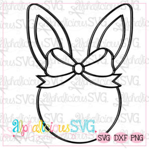 Bunny Head With Bow-Blackline SVG