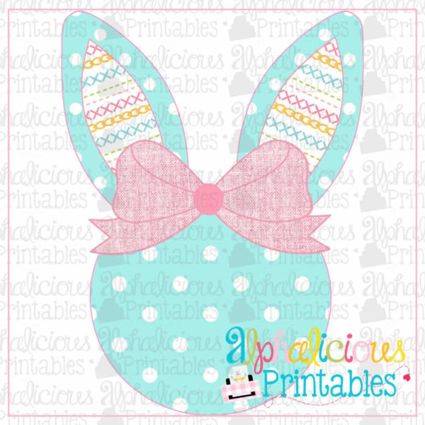 Bunny Head With Bow-Linen Stitches-Printable