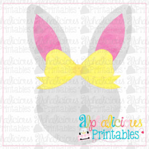 Bunny Head With Bow-Watercolor-Printable