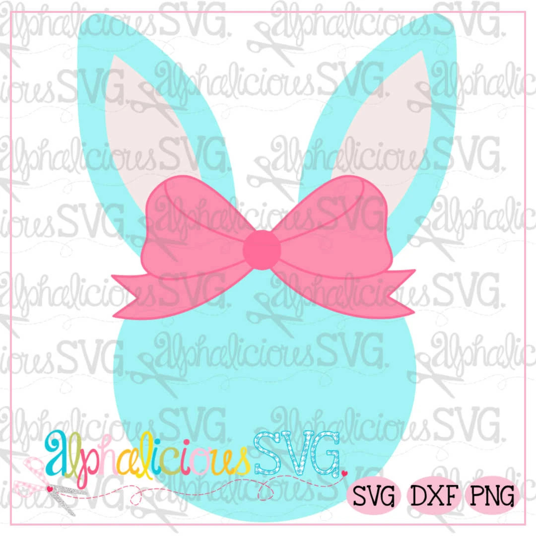 Bunny Head With Bow- SVG