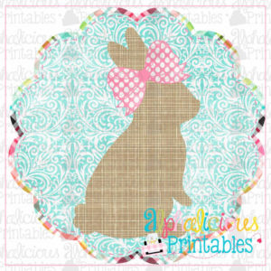 Bunny In Scallop Circle Frame Damask-Printable