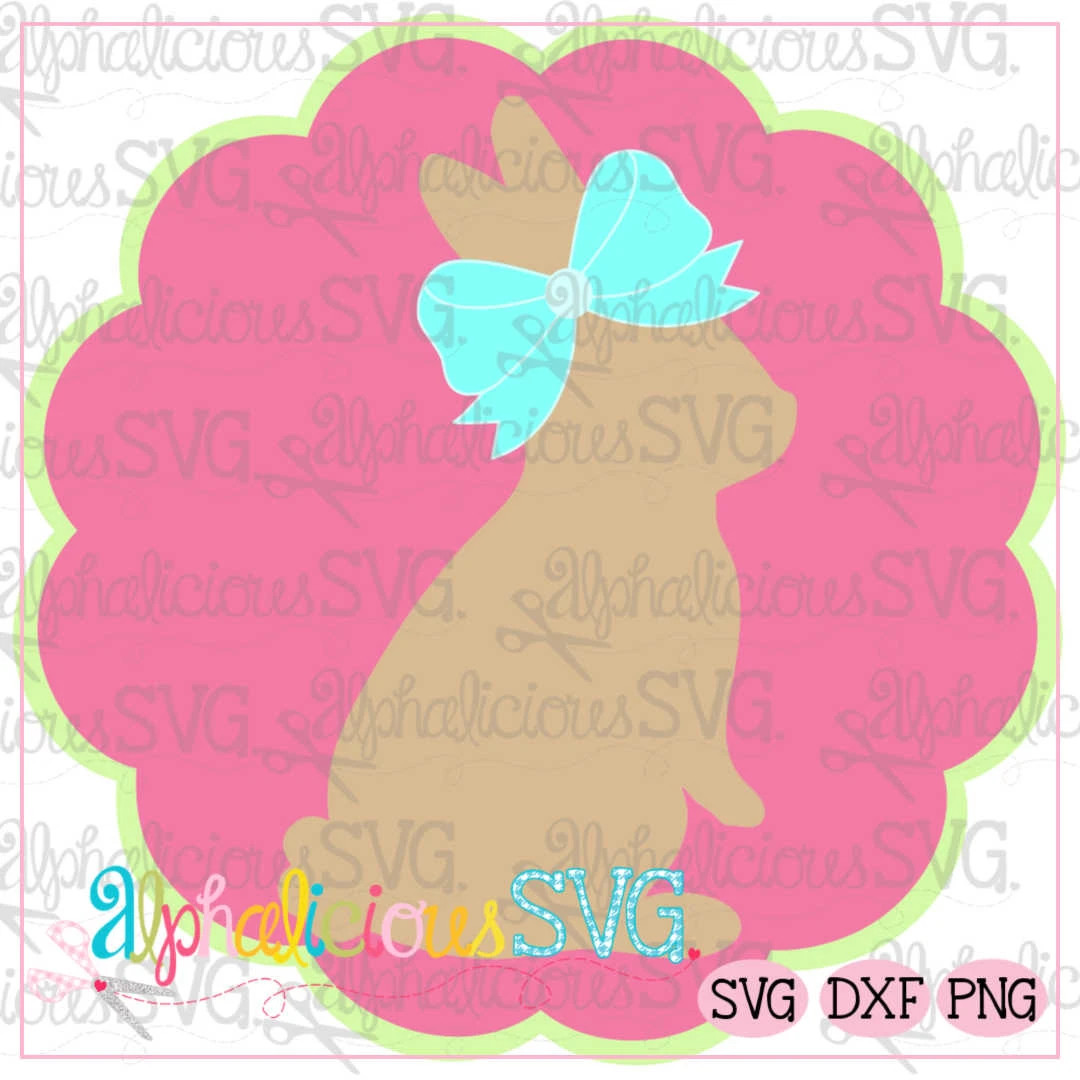Bunny In Scallop Circle Frame SVG
