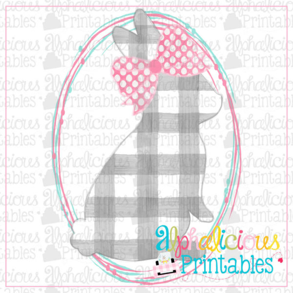 Bunny with Bow in Scribble Oval-Printable