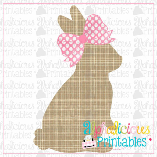 Bunny With Bow-Crosshatch-Printable