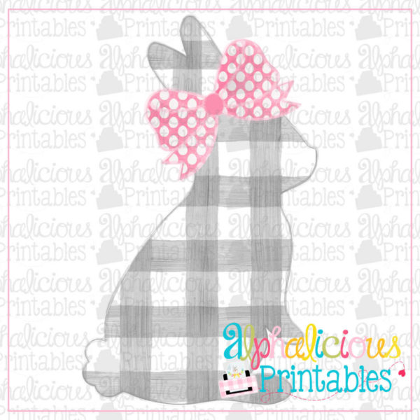 Bunny with bow-Plaid-Printable