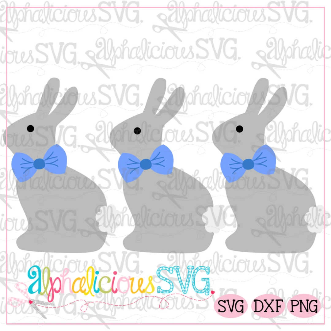 Classic Bunny Three In a Row SVG