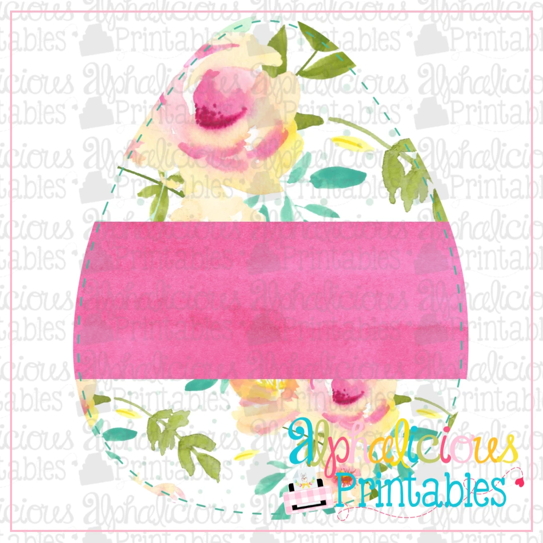 Egg With Banner-Floral-Printable