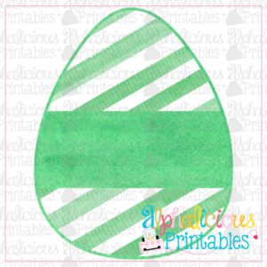 Egg with Banner-Watercolor Stripes-Printable